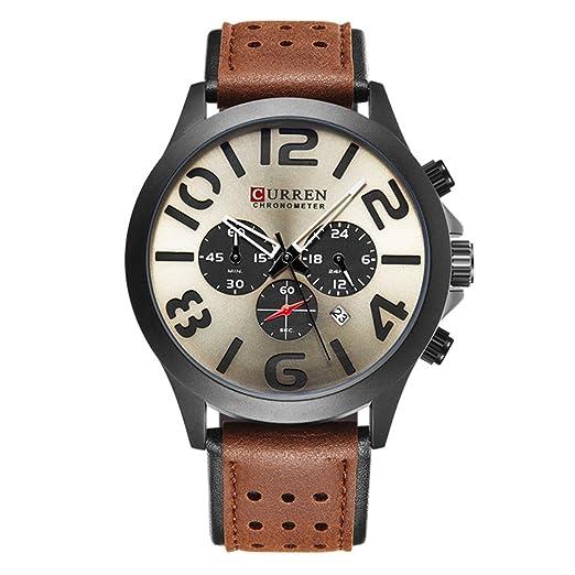 2017 nueva banda de marrón de piel auténtica Curren reloj de pulsera de cuarzo para hombre relojes primera marca black8244: Amazon.es: Relojes