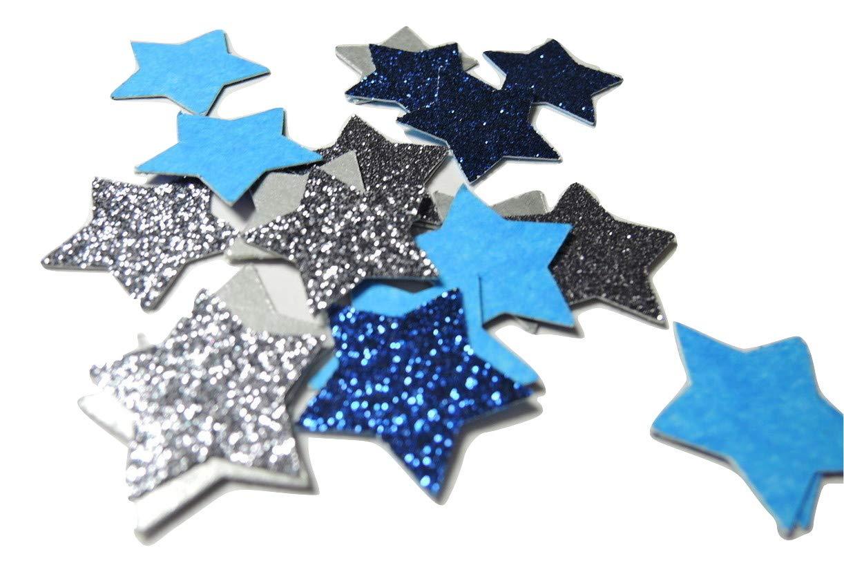 Konfetti Stern silber blau Glitter Tischdeko Weihnachten Party Weihnachtsfeier Dekor (handgemacht Konfetti)