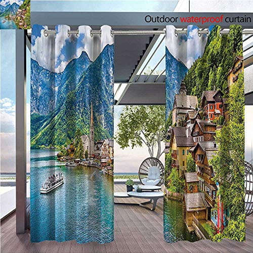 (DESPKON The Shade Block Ultraviolet Famous Hallstatt Mountain Village with Lake in The Austrian Alps Countryside Tour Suitable for Outdoor、Open-air Wedding W72 x L72 INCH)