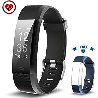 Vigorun Fitness Tracker YG3 Plus Orologio Fitness Monitoraggio della frequenza cardiaca Bluetooth Pedometro Calorie Promemoria sedentario Multiple Sports Mode per Android e iOS (Nero+Blu)