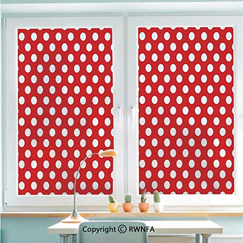 RWNFA No Glue Static Cling Glass Sticker 50s 60s Iconic Pop Art Style Big White Polka Dots Picnic Vintage Old Theme Image Decorative,22.8