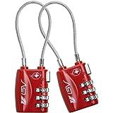 BV - Candado Combinacion, para Equipaje, candado Maleta, Par de candados, candado TSA, Rojo