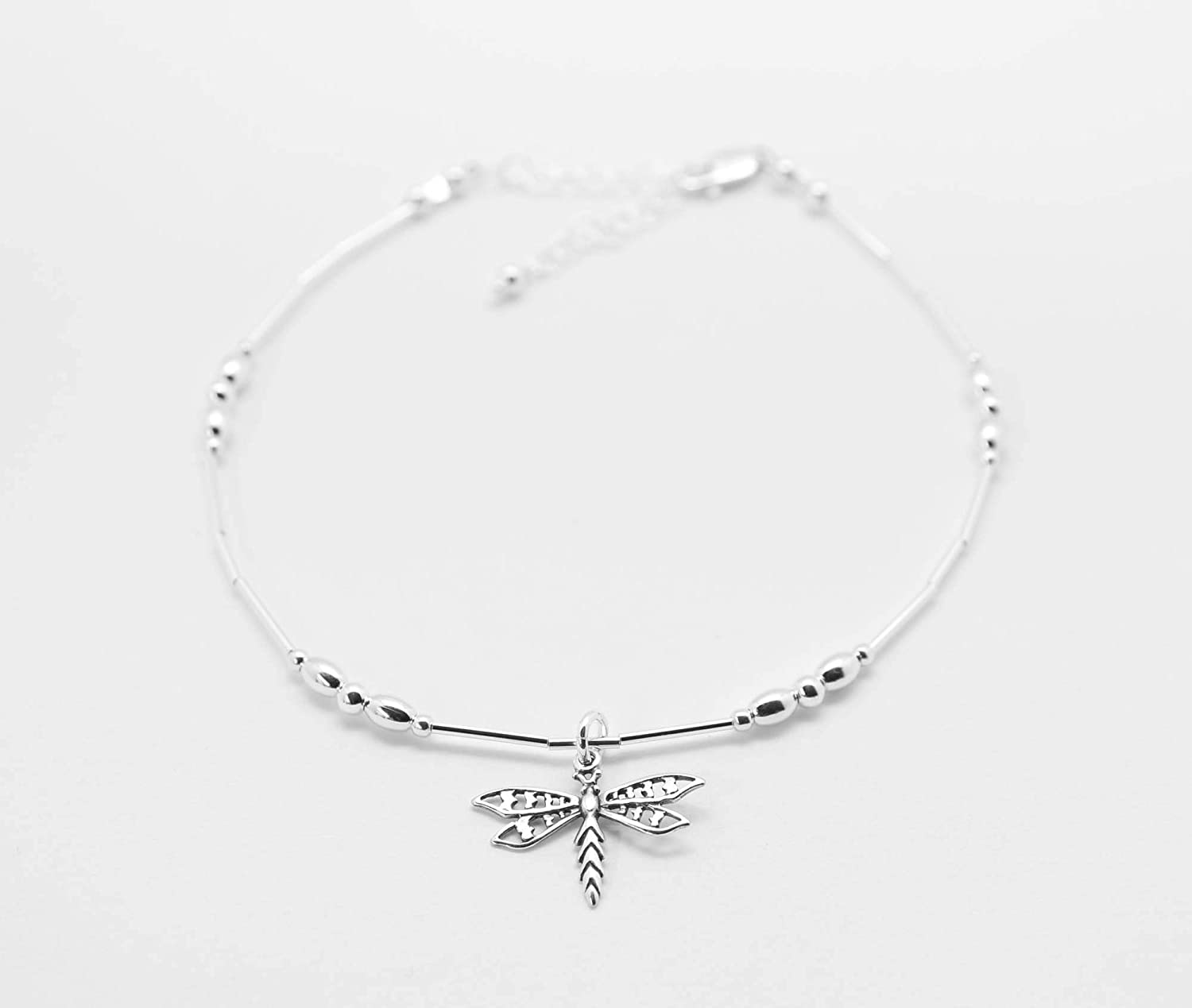 Dragonfly Anklet Sterling Silver Beach Gift