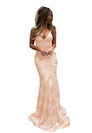 e7b908f9 Sexy Mermaid Bridesmaid Dresses V-Neck Open Back Sequin Formal Prom Party  Gown for Women