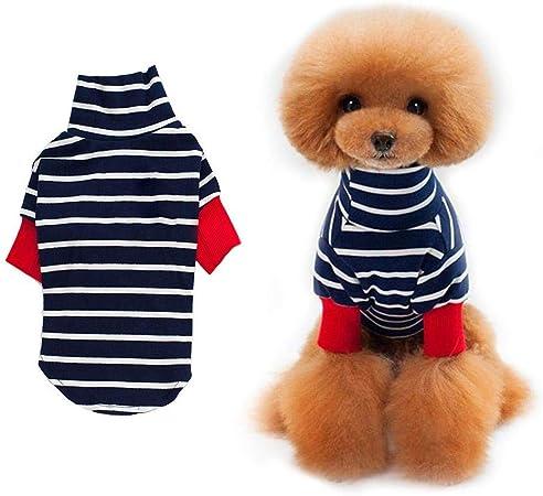TOPINCN Ropa para Mascotas Perro pequeño Fibra de algodón Cálida y acogedora Raya Camisa Baja Cuello Alto Ropa para Perrito Traje Traje Ropa de Uso Diario Trajes(M-Azul): Amazon.es: Hogar