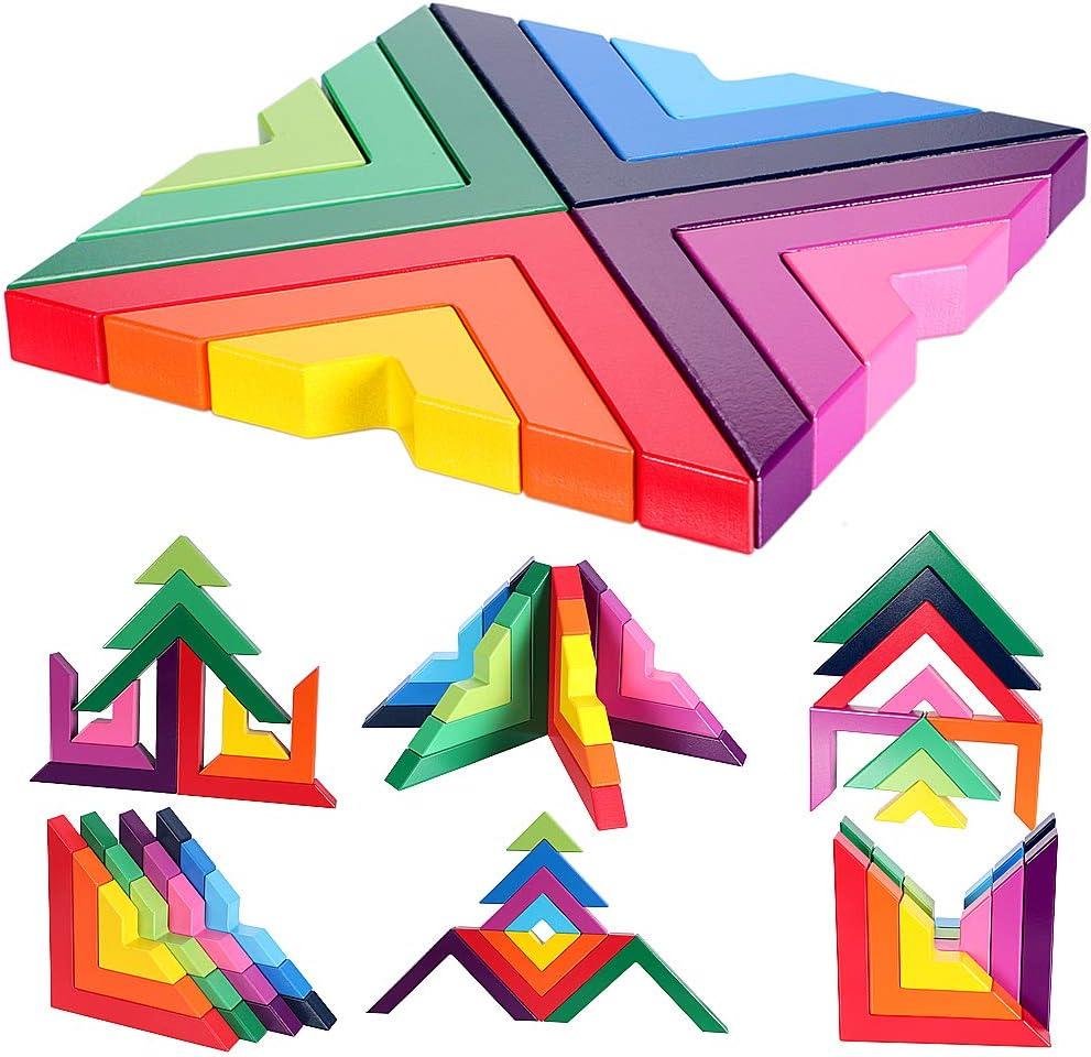 Lewo Juego de apilamiento de Arco Iris de Madera apilamiento Bloques de construcción de geometría Creativa Juguetes educativos de anidación para niños pequeños