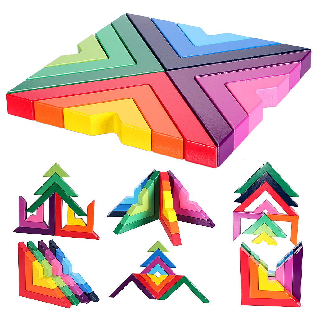 Lewo Wooden Rainbow Stacking Game Stacker Geometry ...