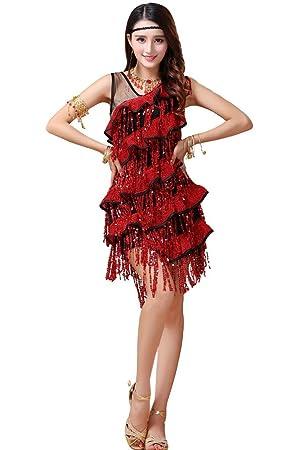 Mujer Vintage Vestidos de cóctel Fiesta de Vestido Samba Rumba Tango para Vestido de Noche,