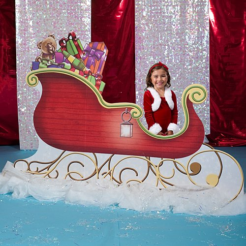 Santa Sleigh Christmas Standee Standup Photo Booth Prop Background Backdrop Party Decoration Decor Scene Setter Cardboard Cutout]()