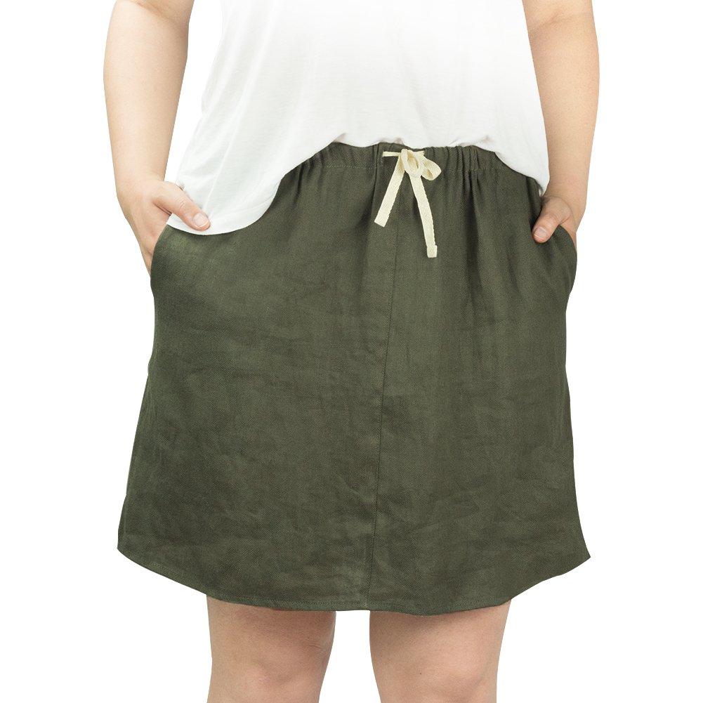 CIZITZZ Women's Short Linen Skirt Elastic Waist Drawstring Casual Summer Dress with Pocket