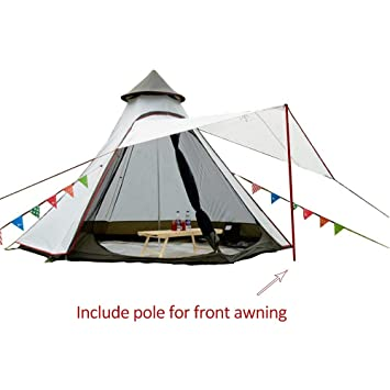 pretty nice 209d2 f0094 PlayDo Waterproof 380CM/12.5ft Camping Teepee Tent Yurt Tent with Screen  for Outdoor Camping Hiking Hunting 4 Persons