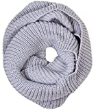 Simplicity Lightweight Solid Color Circle Scarf for Women and Men, Light Grey