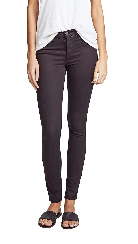 J Brand 485 Luxe Sateen Mid-Rise Super Skinny Jeans Black