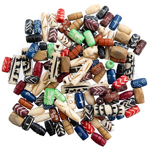 120 PCs Bone Beads for Jewelry Making Kit with Free Leather Necklace - Colorful Natural Ox Bone Beads - Great for Native American, Indian and African Jewelry - Jewelry Making Supplies for Adults (Bead Glass Mix)