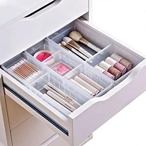 Chris.W Desk Drawer Organizer Tray with Adjustable Dividers, Multi-Drawers for Makeups, Utensil, Pens, Flatware and Junks - Set of 4 (2 Large + 2 Small) 10.24 Inch Length