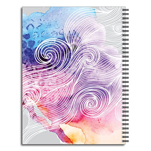 Think Positive Inspirational Personalized Abstract Notebook/Journal, 120 Wide Ruled or Checklist Pages, durable laminated cover, and wire-o spiral. 8.5x11 | 5.5x8.5 | Made in the USA Photo #3