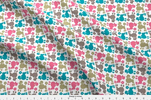 Pampered Poodle - Spoonflower Pampered Fabric - Pampered Poodles Poodles Puppy Pet Dog Blue Pink Brown Poodles Dogs Animals by Andiart Printed on Linen Cotton Canvas Ultra Fabric by The Yard