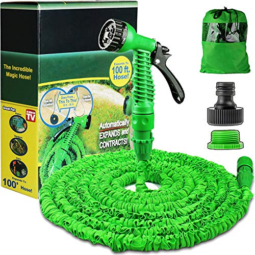 100FT Expanding Garden Water Hose Pipe with 7 Function Spray Gun Expandable...