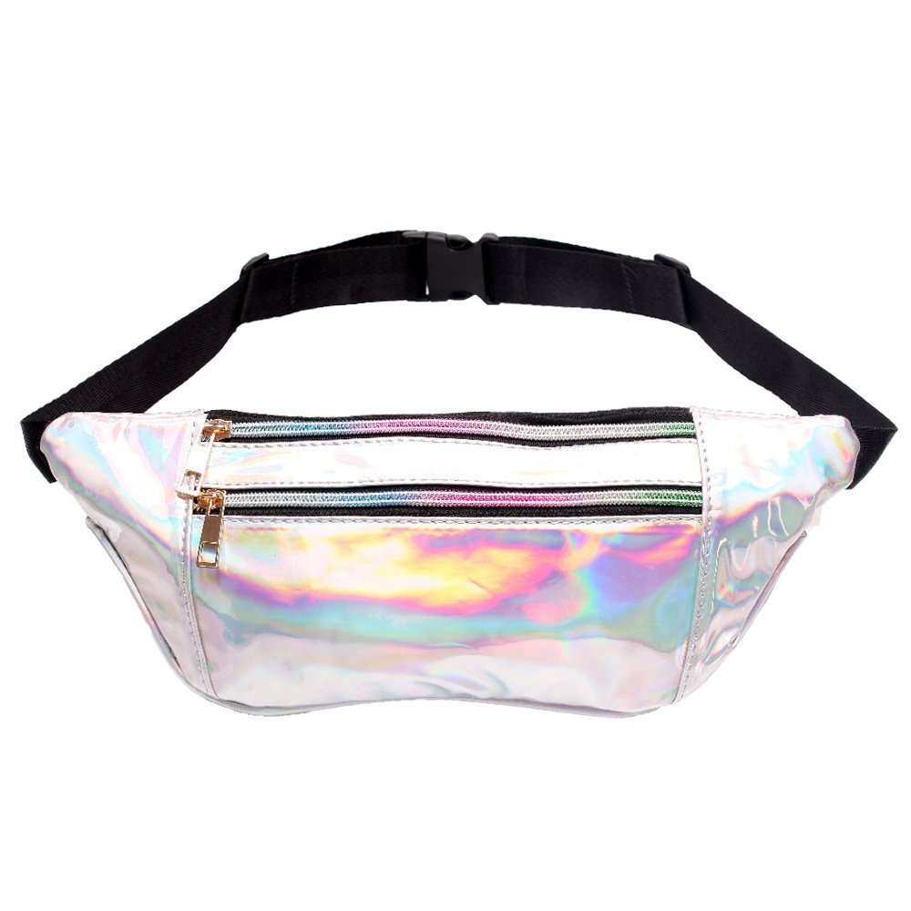 Water Resistant Chrome Iridescent Party Fanny Pack with Adjustable Belt Colorful Casual Waist Pack in White