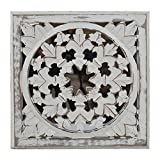 Indian Heritage - Wooden Wall Panel MDF Mirror with Carved Panel Design in White Distress Finish (Set of 2)