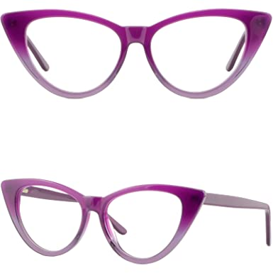 cec2a6083e Image Unavailable. Image not available for. Color  Large Womens Cateye Acetate  Frame Spring Hinges Wide Prescription Purple Glasses