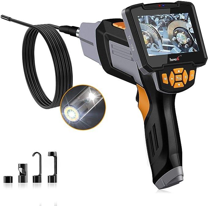 Asperx Digitale Endoskopkamera 4 3 Zoll 1080p Hd Endoskop 8mm Inspektionskamera 6 Led Leuchten Mit Vorder Und Seitenansicht Doppelkamera Ip67 Wasserdicht 5 Meter Kabel 32gb Karte Auto