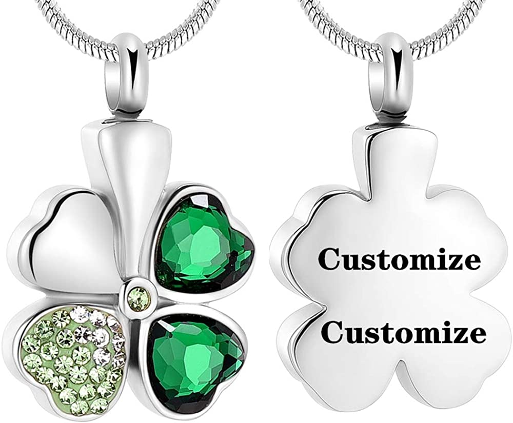 Crystal Four Leaf Clover Memorial Ash Necklace Stainless Steel Cremation Jewelry