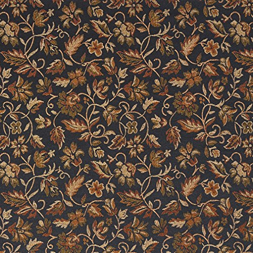 (E620 Floral Black Gold Green and Orange Damask Upholstery and Window Treatment Fabric by The Yard )