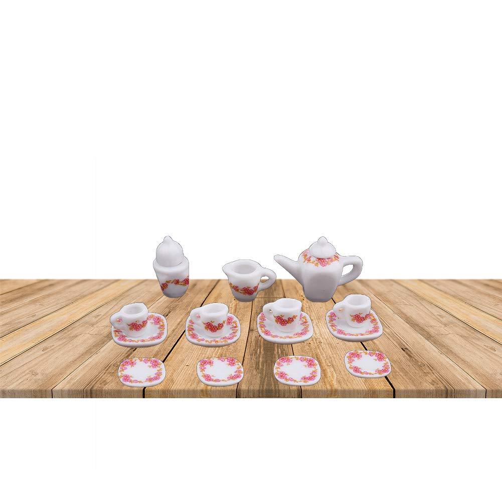1:12 ZYCX123 15pcs-Miniatura Taza de t/é Conjunto de cer/ámica del patr/ón Taza de t/é Juego de Accesorios Modelo Floral Ding Tea Room Copa