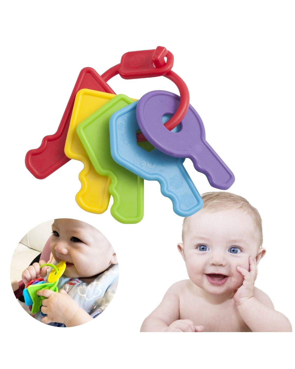 INNOKA Colorful Baby Teether Keys with microbeFENCE Technology for 3 Months+, Super Safe & Soft Rounded Edges Teething Toys for Sore Gums Relief, FDA Approved BPA Free Food Safety & Dishwasher Safe