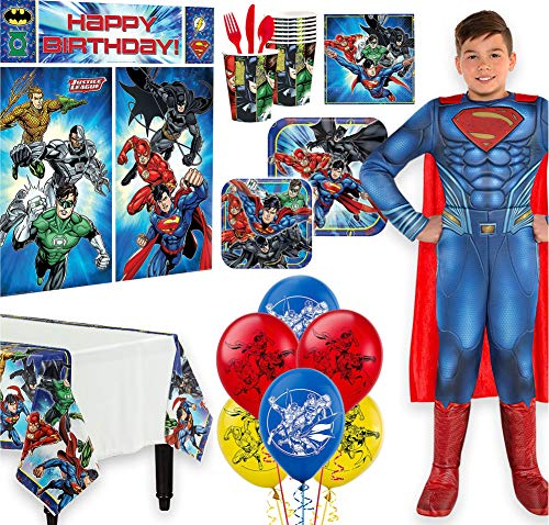 Warner Brothers Justice League Birthday Party Kit, Includes Superman Costume 12-14,Tableware,Décor, Balloons, Serves 8