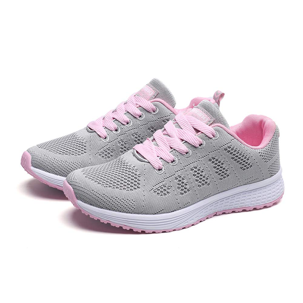 2019 Hot Women Summer Running Shoes Comfortable Mesh Round Cross Straps Flat Sneakers Casual Shoes (Gray, 7)