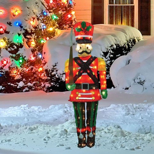 60 Inch 3D Flat Back Lighted Nutcracker Toy Soldier Pre Lit Christmas Indoor Outdoor Yard Porch Doorway Entrance Tinsel Holiday (Christmas Toy Soldier)