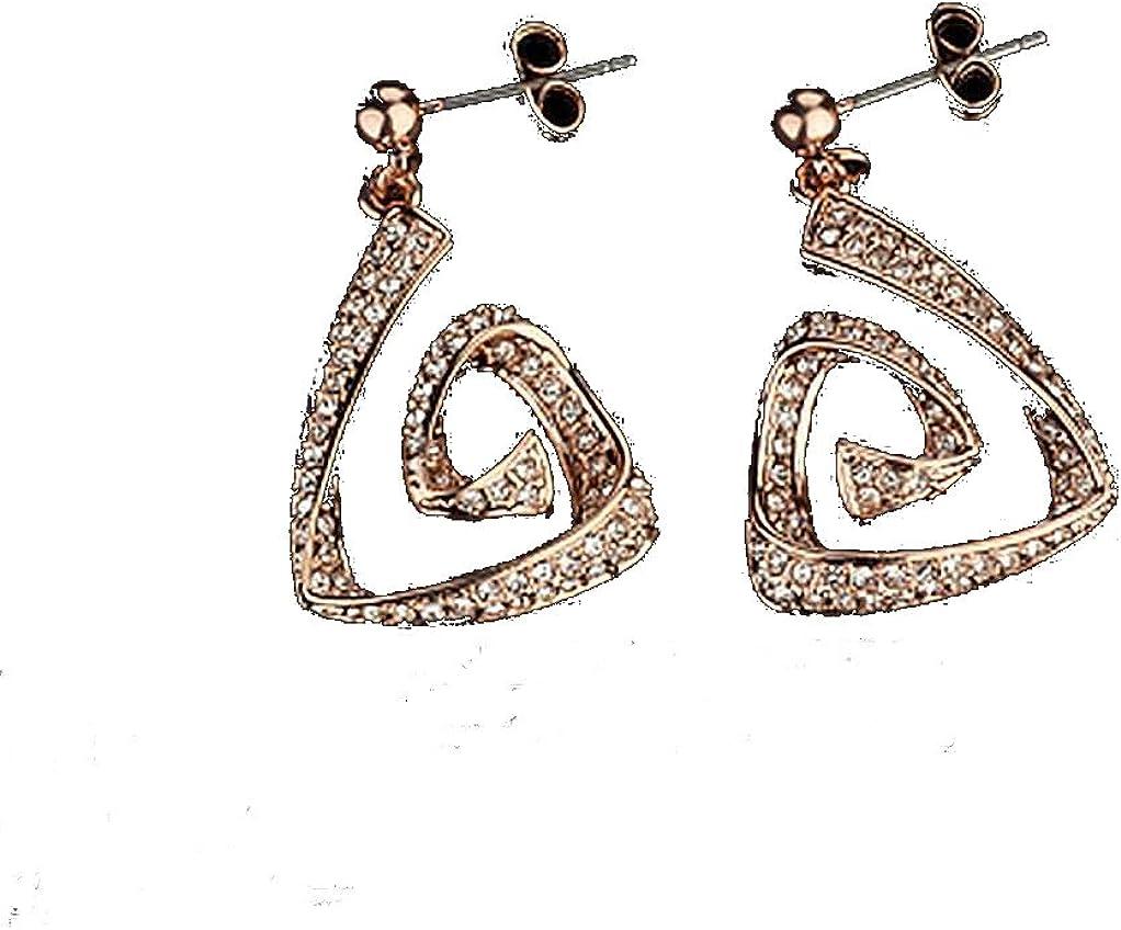 Rose Drop Earrings rhinestone earrings spiral dangle earrings gold plated earrings