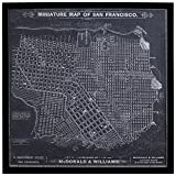 Modern Print of 1879 San Francisco Map, Black Frame, 26'' x 26''