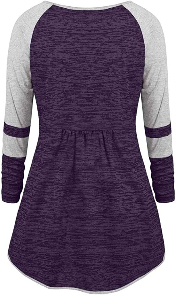 RUIVE Women/'s Plus Size Pullover V-Neck Patchwork Pleated Sweatshirt Grommet Ribbons Color Casual Tops Blouse
