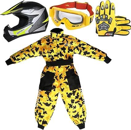 Amazon.es: Leopard LEO-X19 Amarillo Casco de Motocross para Niños ...