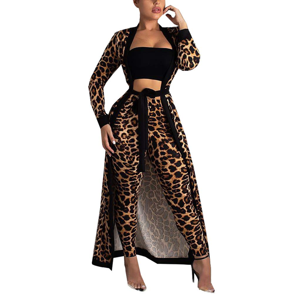 7 Leopard Print Remxi Women 2 Piece Outfits Clubwear Long Sleeve Open Front Cardigan and Pants Set