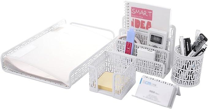 Caja de almacenamiento portalapices escritorio metal para oficina bandeja letras
