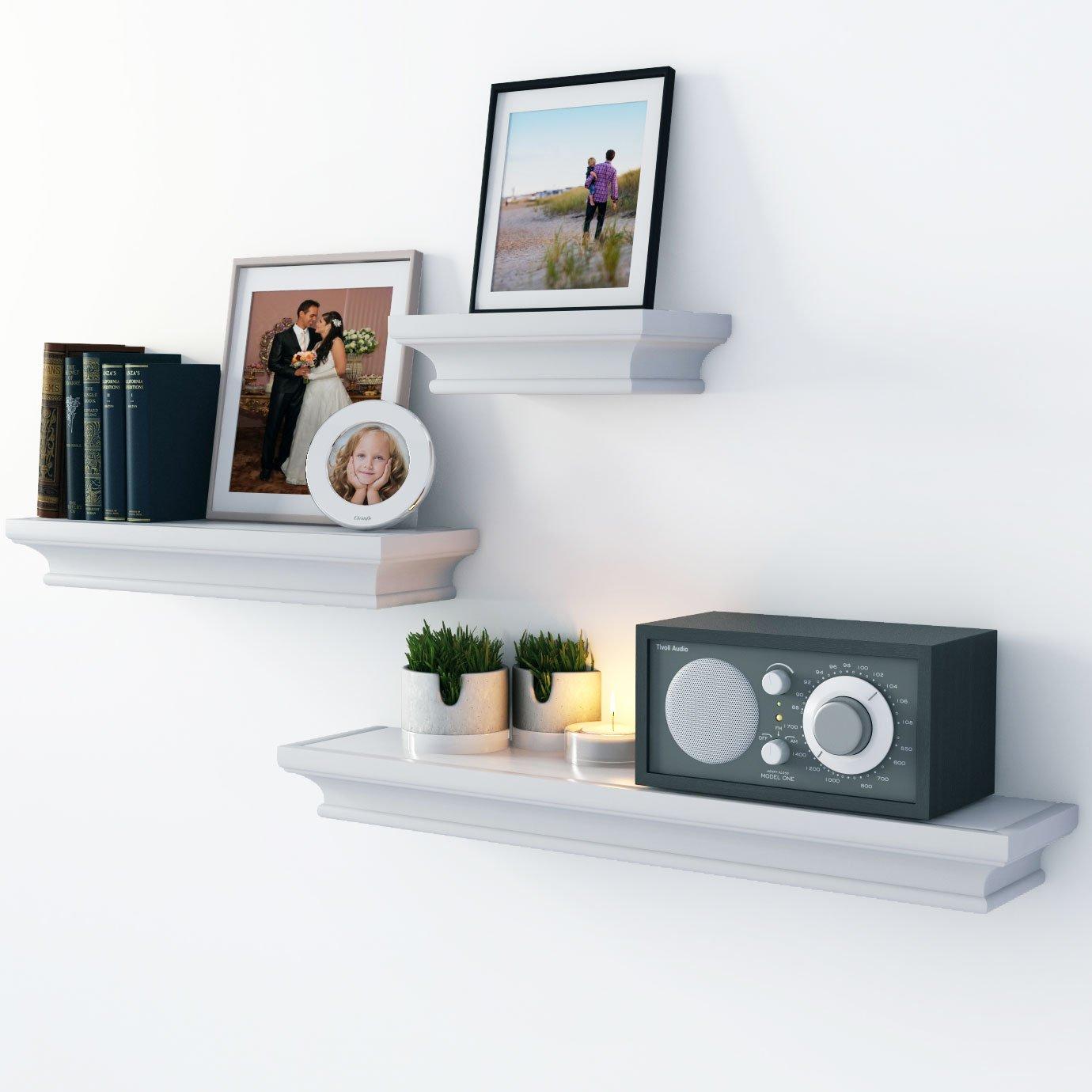 Amazon.com: Traditional Wall Shelf Ledge Set Crown Molding Design ...