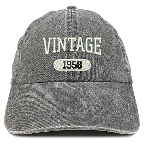 Trendy Apparel Shop Vintage 1958 Embroidered 61st Birthday Soft Crown Washed Cotton Cap - Black