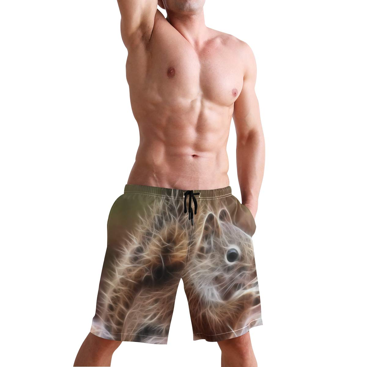 KVMV Squirrels Chipmunks Fractal Quick Dry Beach Shorts