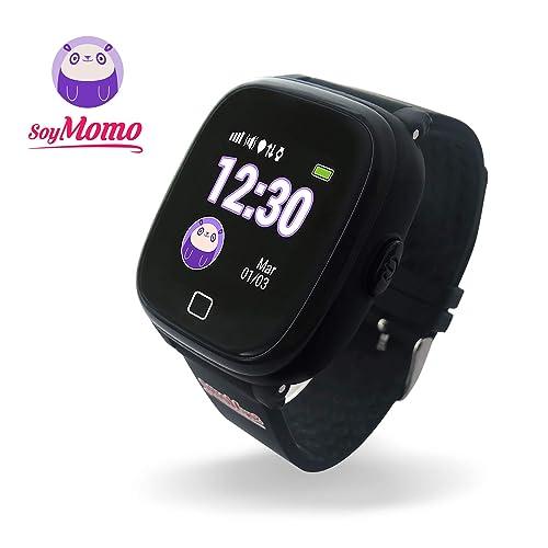 SoyMomo H2O Reloj Inteligente para Niños con GPS y Botón SOS Móvil para niños con Ranura para SIM Que Permite Llamadas y Mensajes Smartwatch para Niños con Rastreador GPS Resistente al Agua Negro