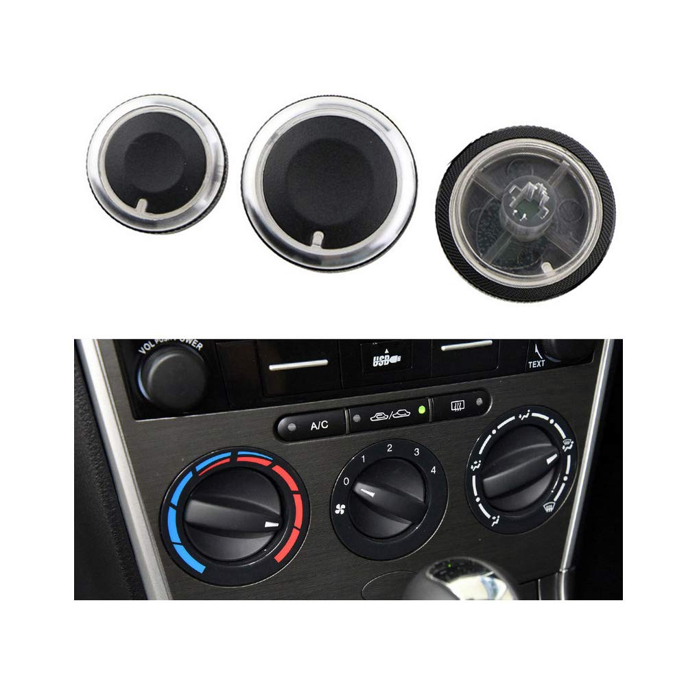 VIGORWORK 3 Pcs/Set Car Air Conditioning Knob AC Air Knob Button Case for Mazda 6 M6 Car Accessories