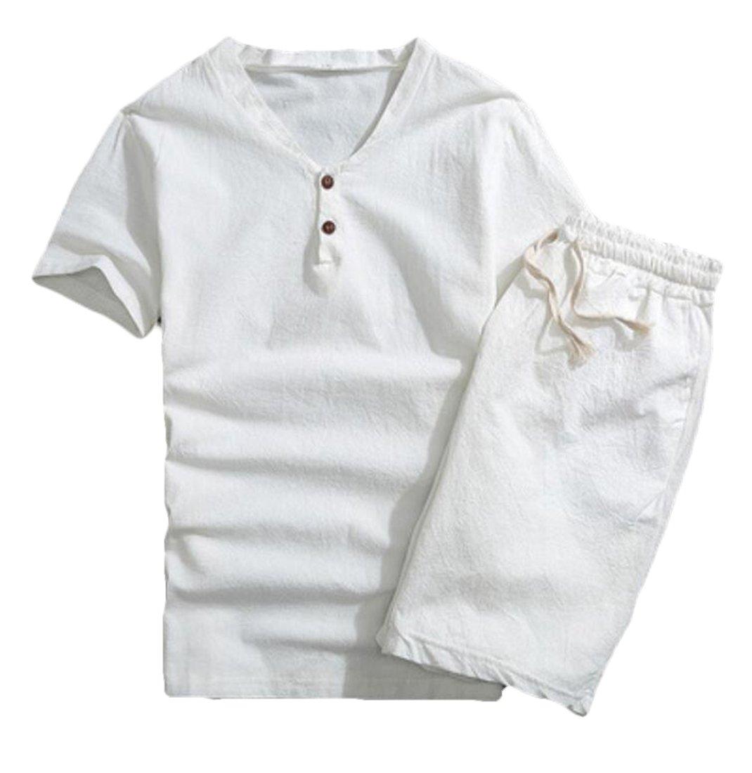 CRYYU-Men Summer Cotton and Linen 2 Piece Outfits T-Shirt & Beach Shorts White US L