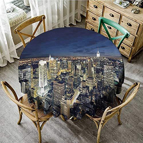 Summer Table Cloths Urban,Modern Cityscape After Sunset Manhattan New York USA Architectural View,Yellow Tan Dark Blue D 60
