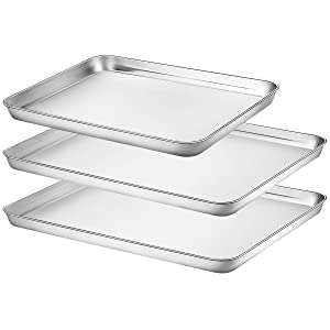 Baking Sheets Set of 3, HKJ Chef Baking Pans 3 Pieces & Stainless Steel Cookie Sheets & Toaster Oven Tray Pans, Non Toxic & Healthy, Mirror & Easy Clean (2x16inch+12inch)