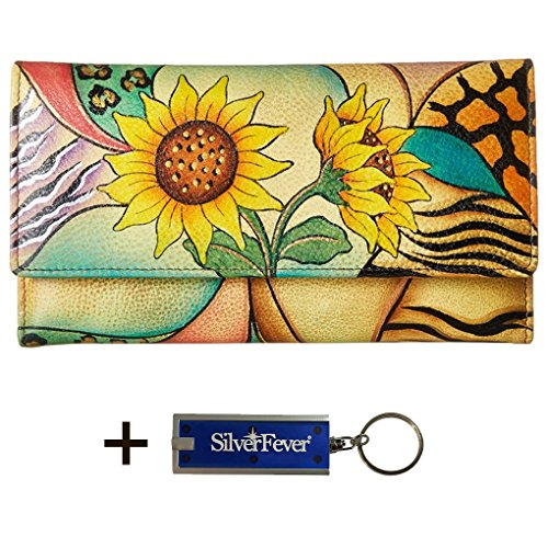 Anna by Anuschka Ladies Wallet & Key Chain (Checkbook Sunflower Safari)