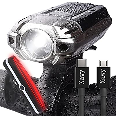 Best USB Rechargeable Bike Light - Xawy X1 390 Lumens Headlight - Front Light & LED Bike Tail Light Set. Waterproof - Cycling Safety Commuter Flashlight For Mountain, Road, Kids & City Bicycle