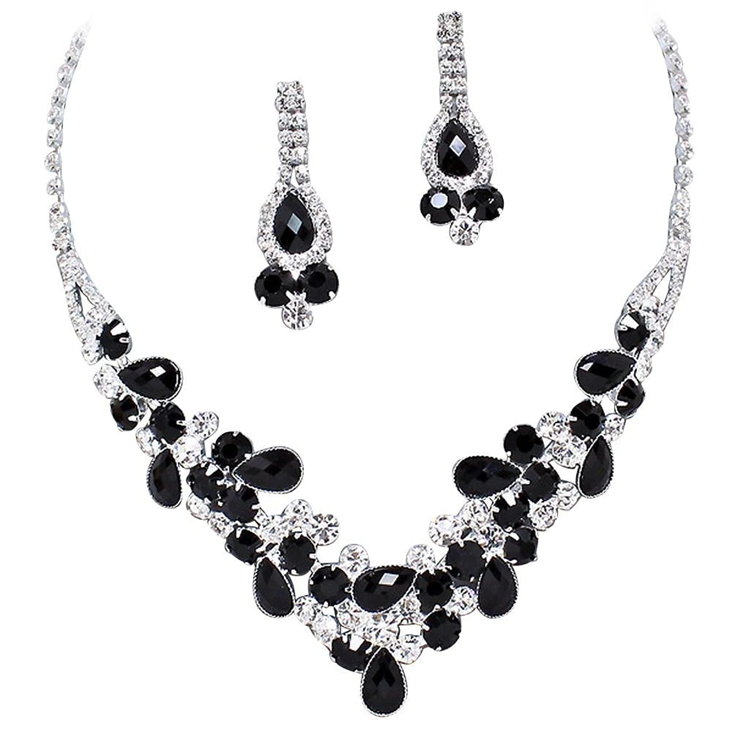 Amazon elegant black v shaped garland prom bridesmaid evening amazon elegant black v shaped garland prom bridesmaid evening necklace set k1 jewelry junglespirit Image collections